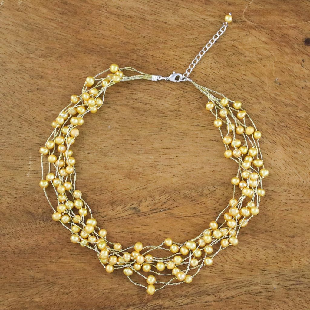"""Pearl Strand Necklace Handmade in Thailand, """"Golden Web of Beauty"""" Bridal Jewelry"""
