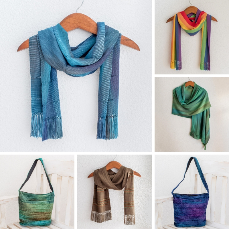 Handwoven Scarves, shawls and handbags