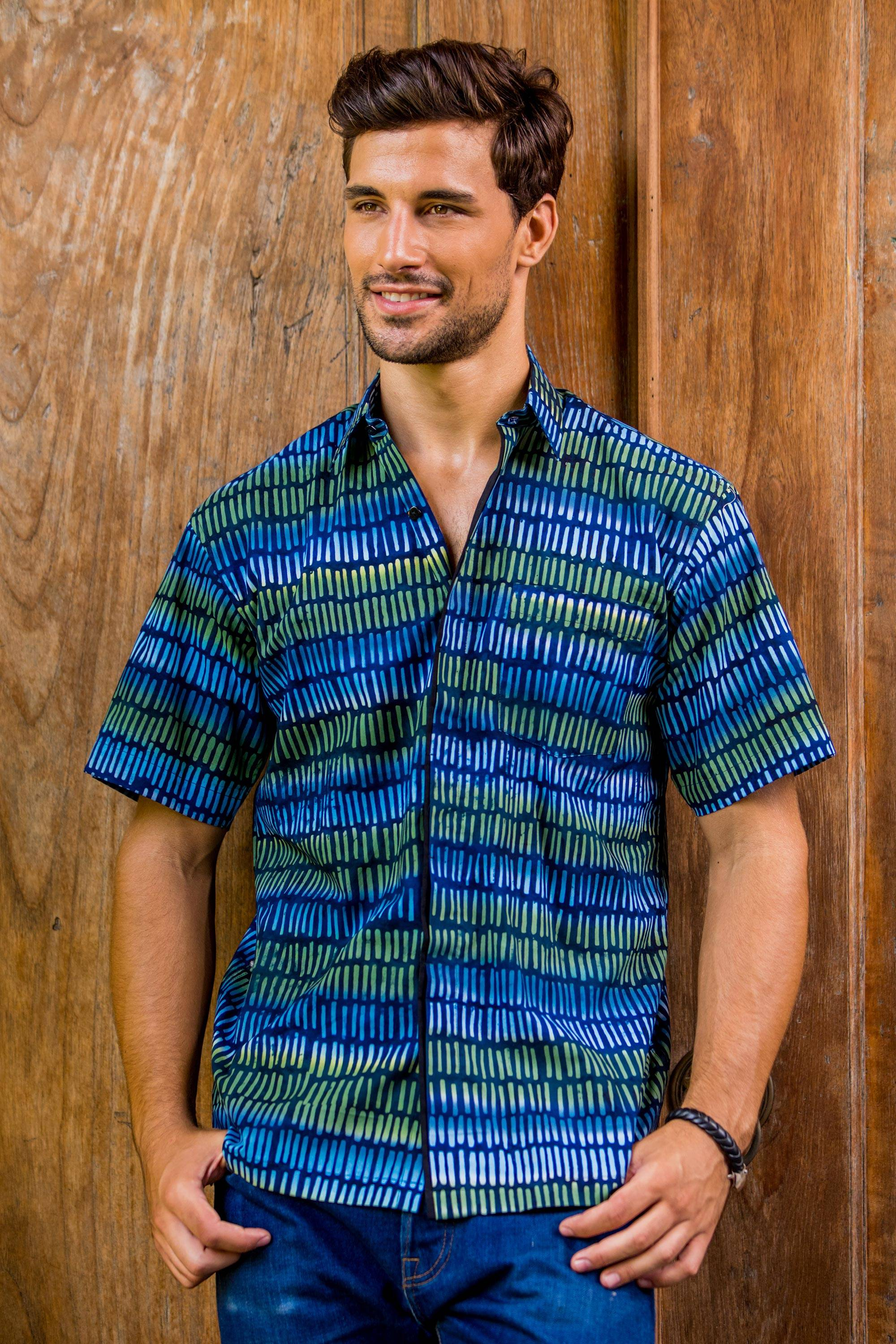 """CAN'T MISS FATHER'S DAY GIFTS Men's Blue Cotton Button Down Shirt with Hand Stamped Batik, """"Oceanic Voyager"""""""
