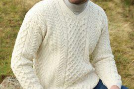 """Men's Irish Aran Islands Wool V-Neck Sweater, """"Cliffs of Inis Mor"""""""