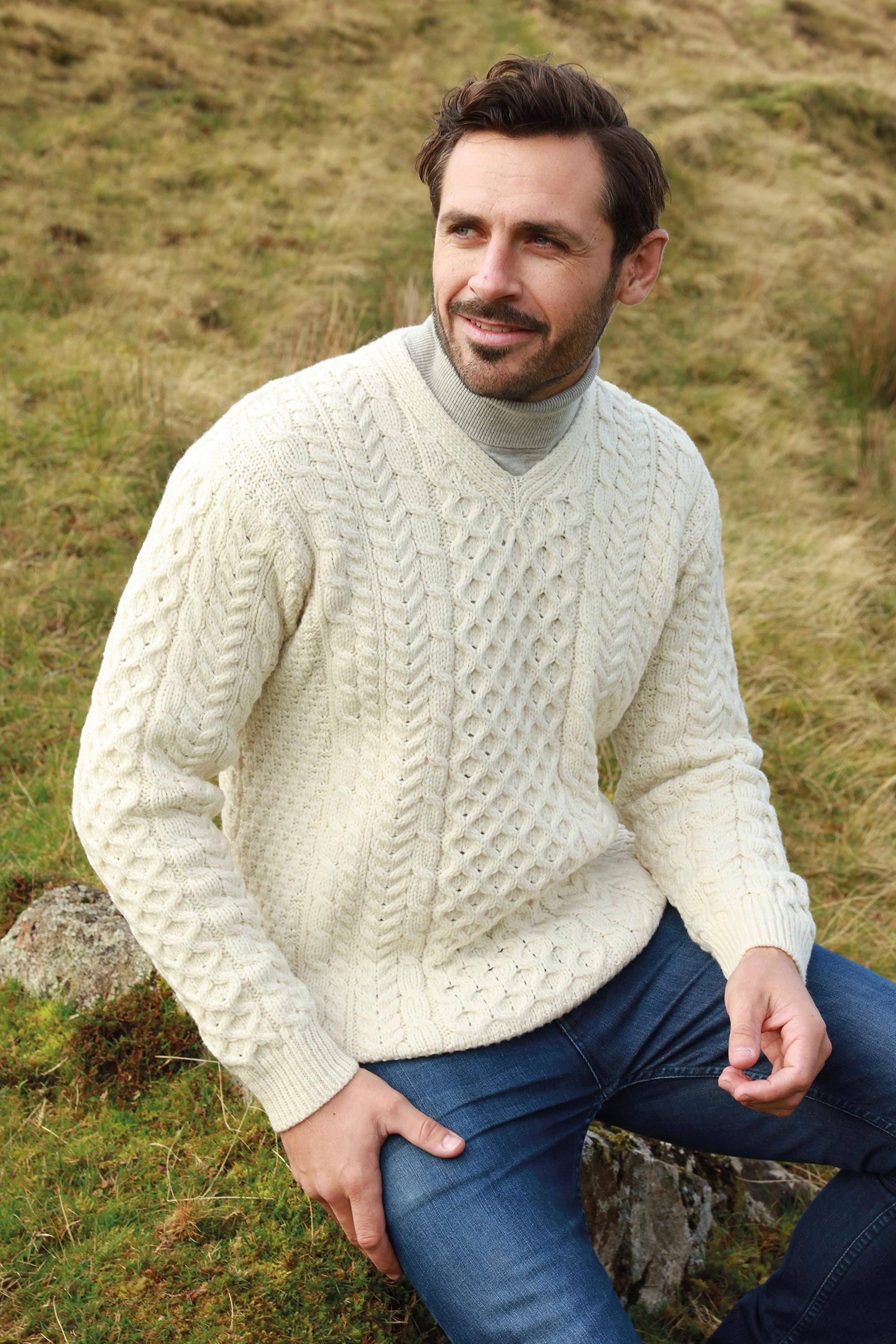 """CAN'T MISS FATHER'S DAY GIFTS Men's Irish Aran Islands Wool V-Neck Sweater, """"Cliffs of Inis Mor"""""""