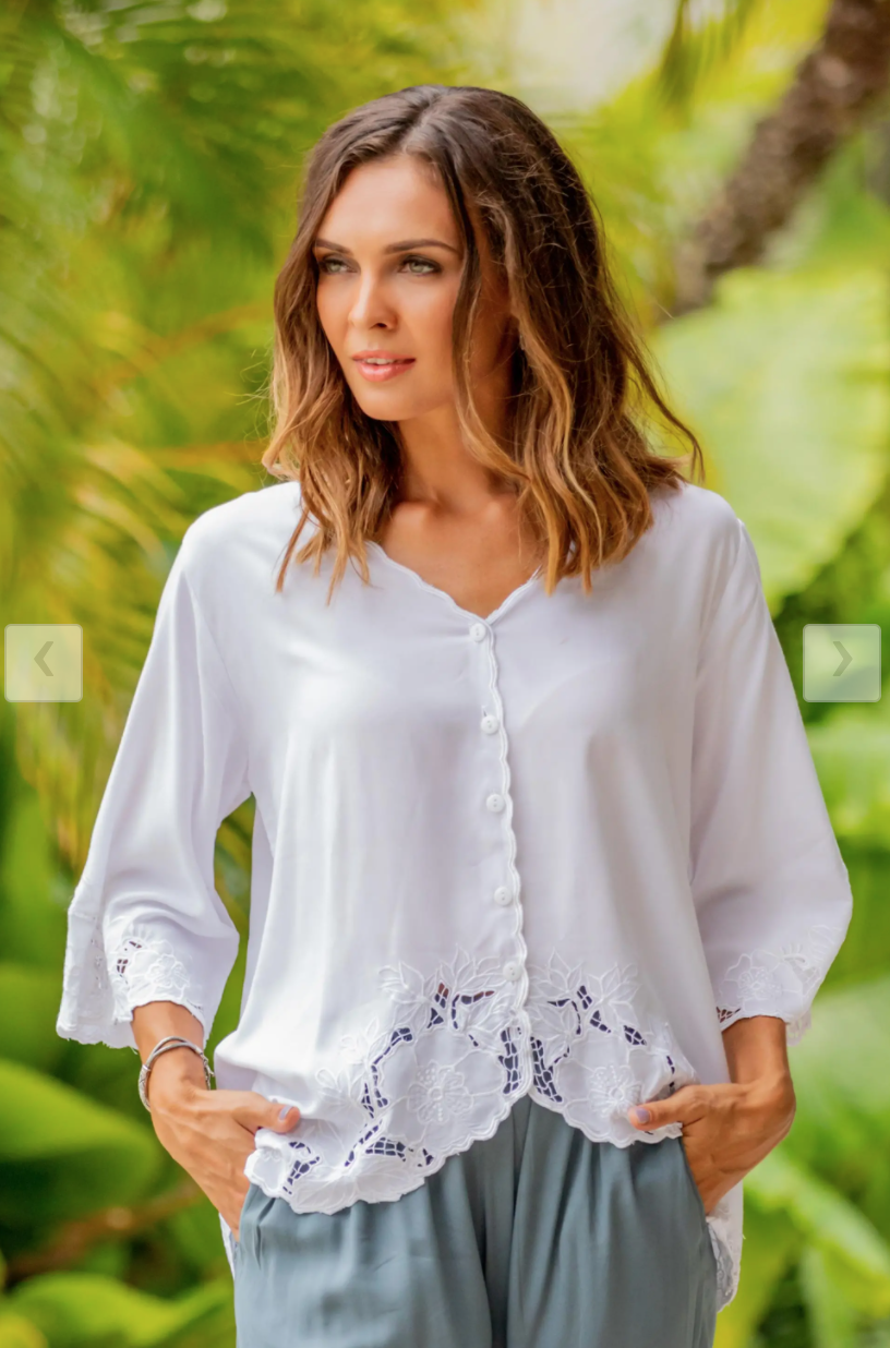 "From the Waist Up Zoom Meetings Fashion Floral Embroidered White Rayon Blouse from Bali, ""Blossom Delight"" work clothes conference meetings"