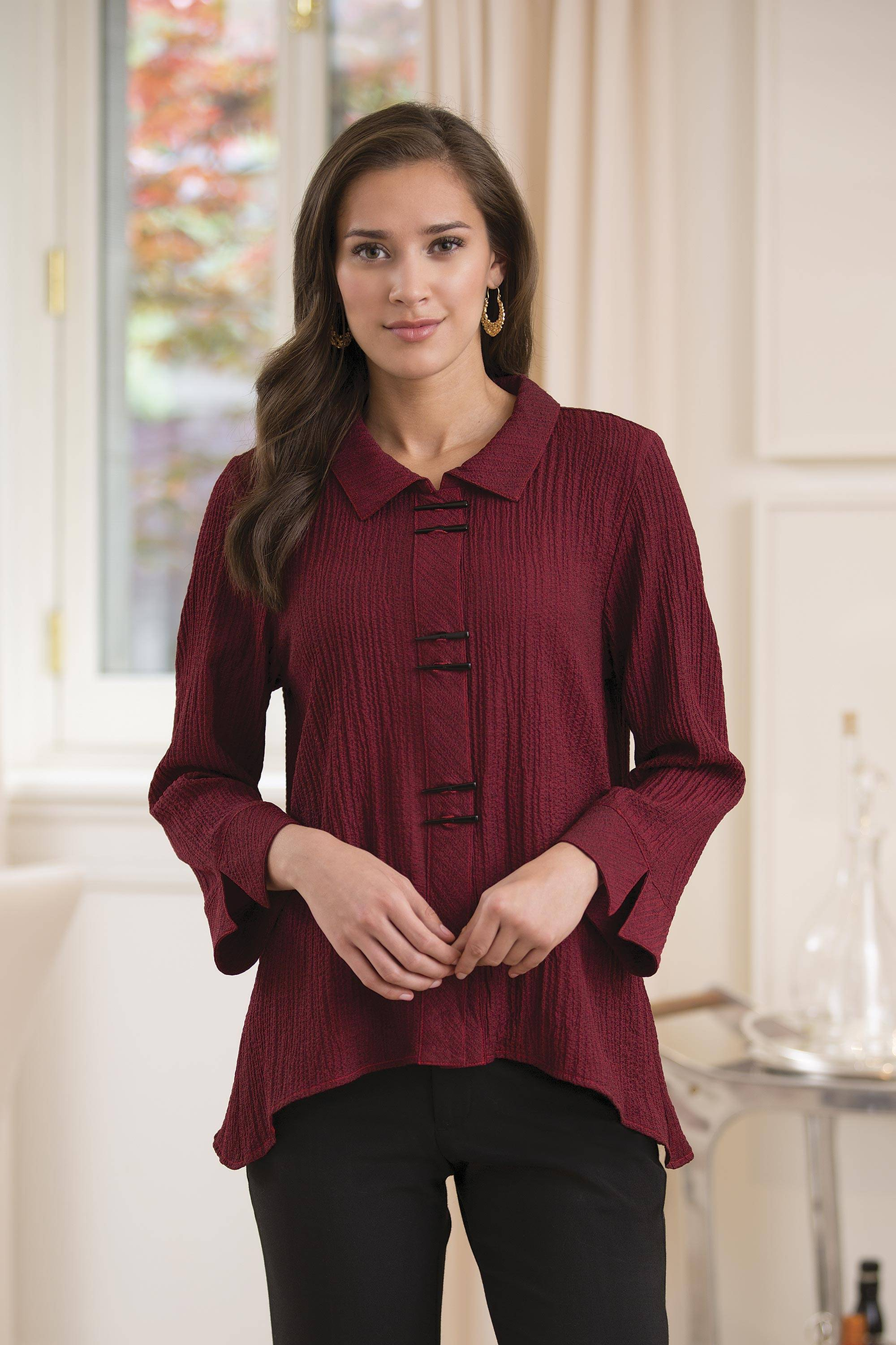 "From the Waist Up Zoom Meetings Fashion Ladies' ""Chopsticks"" Travel Shirt in Burgundy. work clothes"