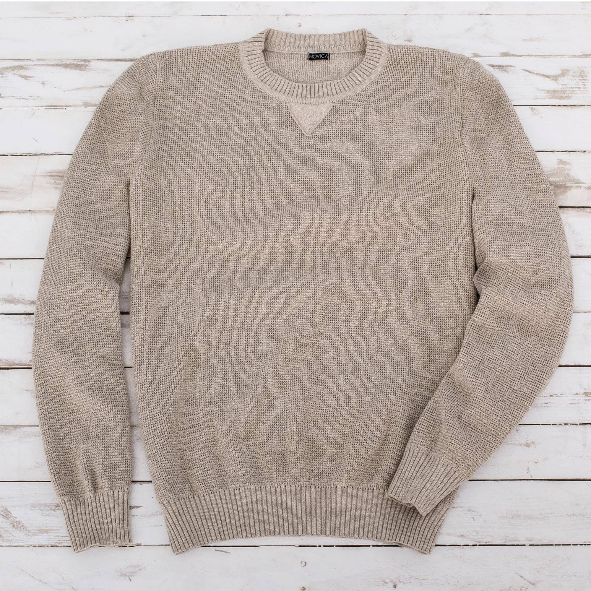 "From the Waist Up Zoom Meetings Fashion Men's Beige Cotton Pullover Sweater from Guatemala, ""Sporting Elegance"""