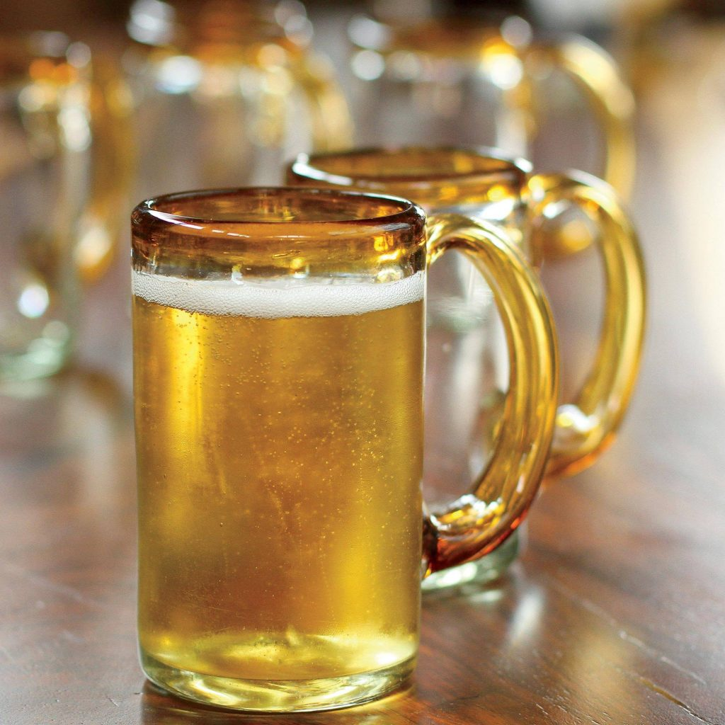 """""""Amber Beer, """"Hand Blown Beer Glasses with Amber Handle and Rim (Set of 6) father's day gift idea"""