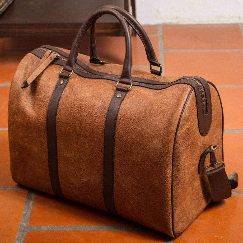 """""""Fashionable Traveler,"""" Burnt Sienna and Espresso Leather Travel Bag from Mexico father's day gift ifde"""