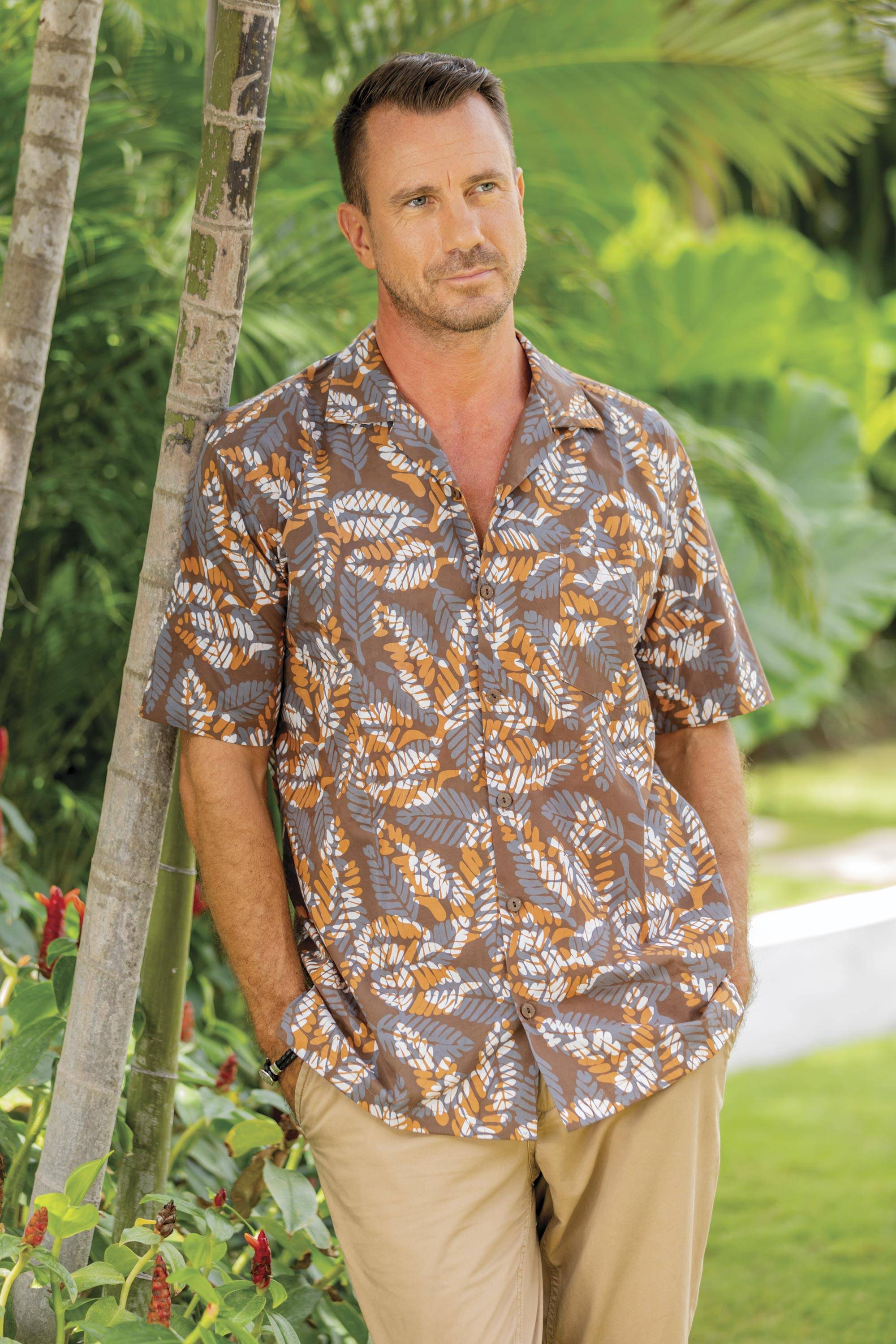 """""""Brown Leaf Shadows,"""" Men's Short Sleeved Brown Cotton Batik Shirt from Bali father's day gift idea"""