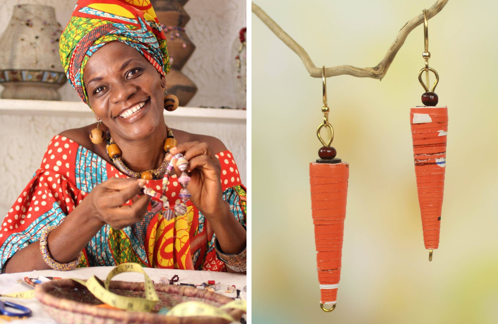 "Akwele Sumah Handmade Orange Paper Recycled Earrings, ""Heartfelt Smile"""