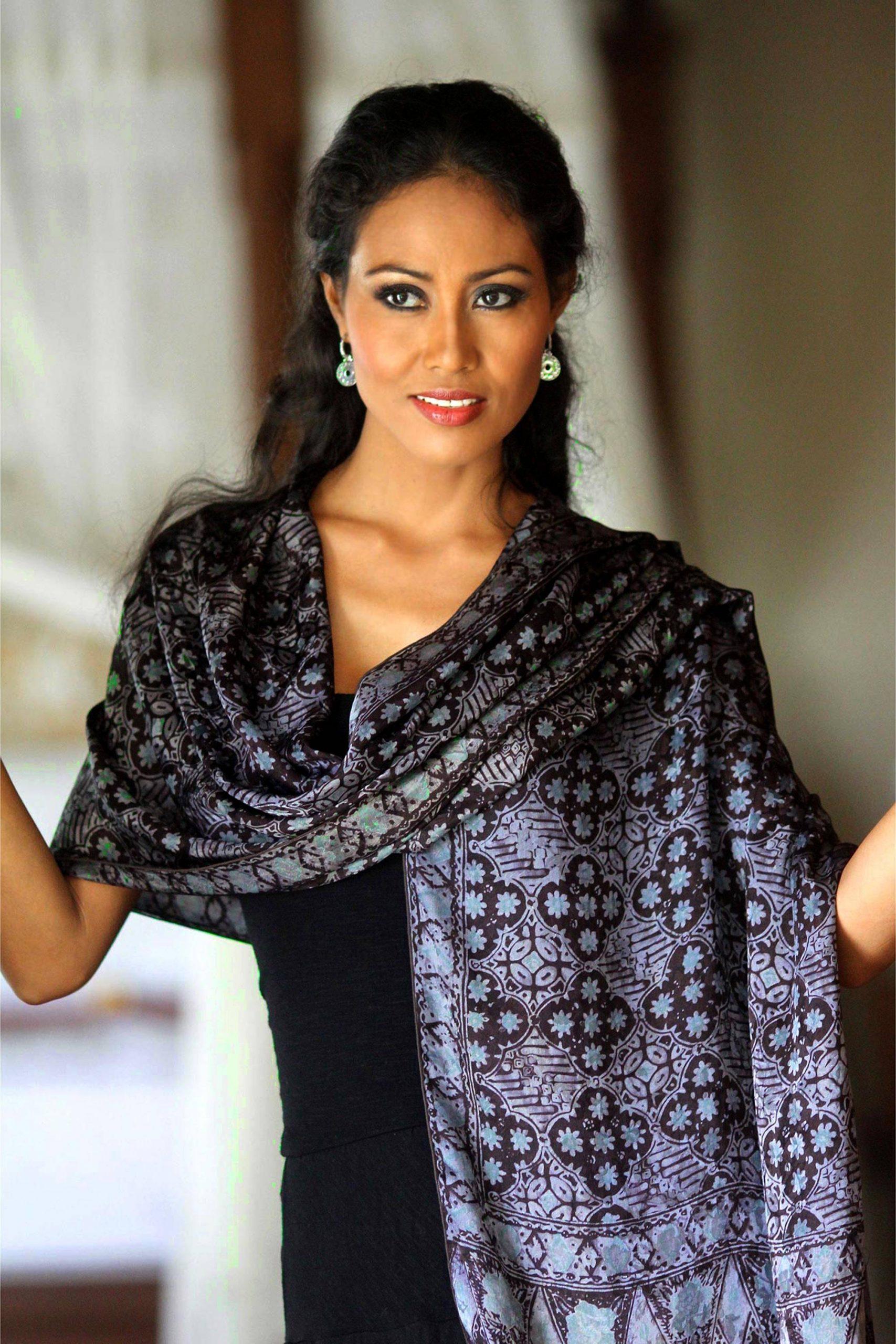 "Batik Silk Shawl with Kawung Motifs from Bali, ""Java Sea"" Handmade shawls"