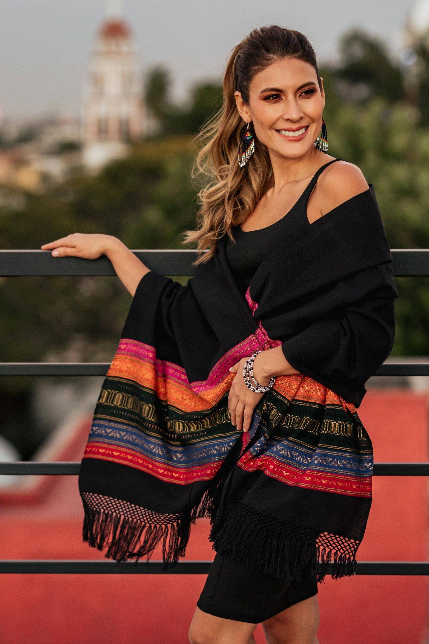 "Handmade Shawls Black Zapotec Rebozo Shawl with Colorful Geometric Stripes, ""Zapotec Night Splendor"""