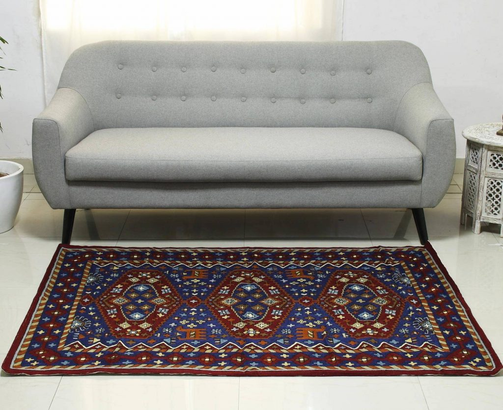 """Chain Stitch Wool on Cotton Rug (4 x 6), """"Valley of Hope"""" Handmade Area Rugs"""