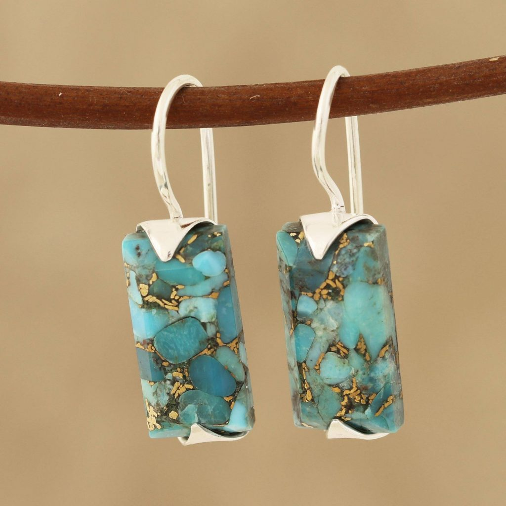 """Composite Turquoise Drop Earrings from India, """"Beautiful Blue"""" Artistic earrings"""