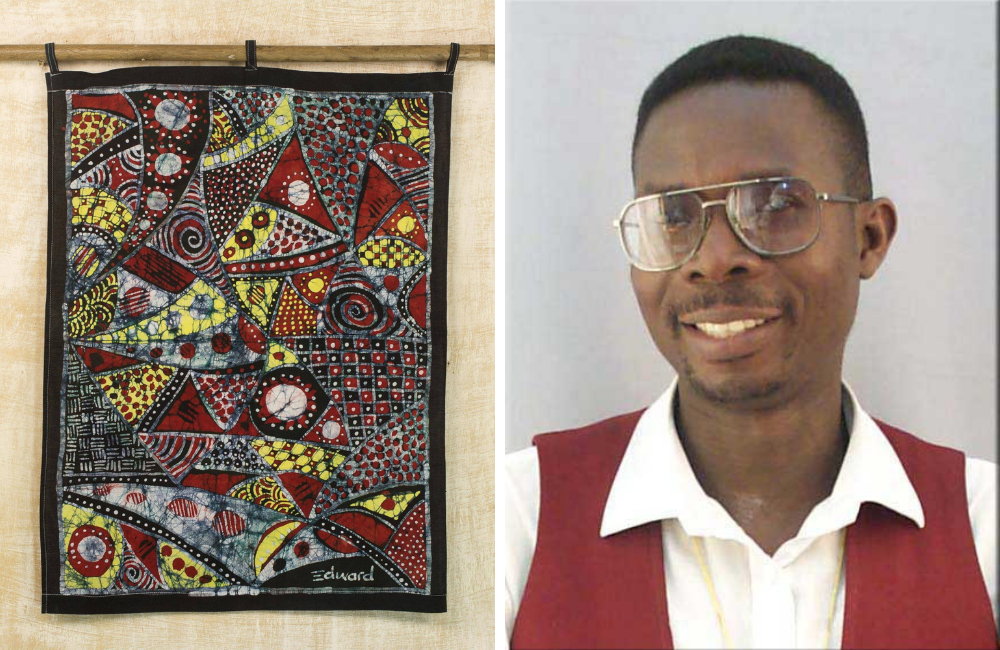 "Edward Adeniran and Batik Wall Hanging with Cultural Motifs, ""Our Customs"""