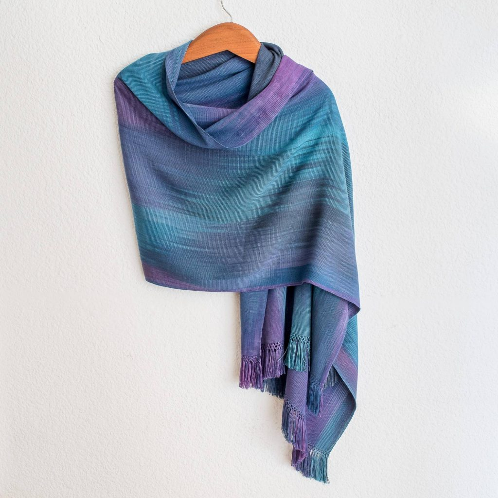 """Handmade Shawls Guatemalan Hand Woven Shawl in Blues and Orchids, """"Blue Orchids"""""""