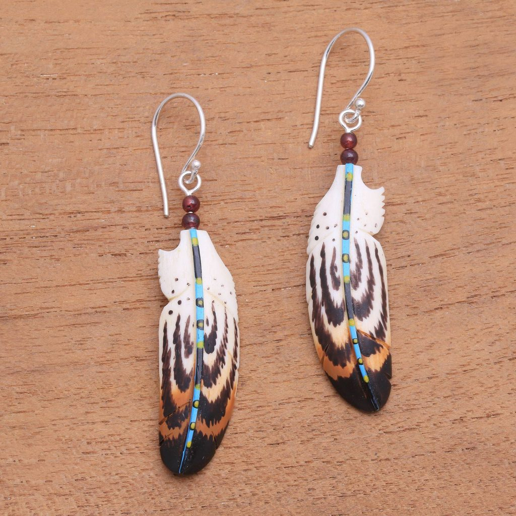 """ARTISTIC EARRINGS Hand-Painted Bone and Amethyst Dangle Earrings, """"Antique Feathers"""""""
