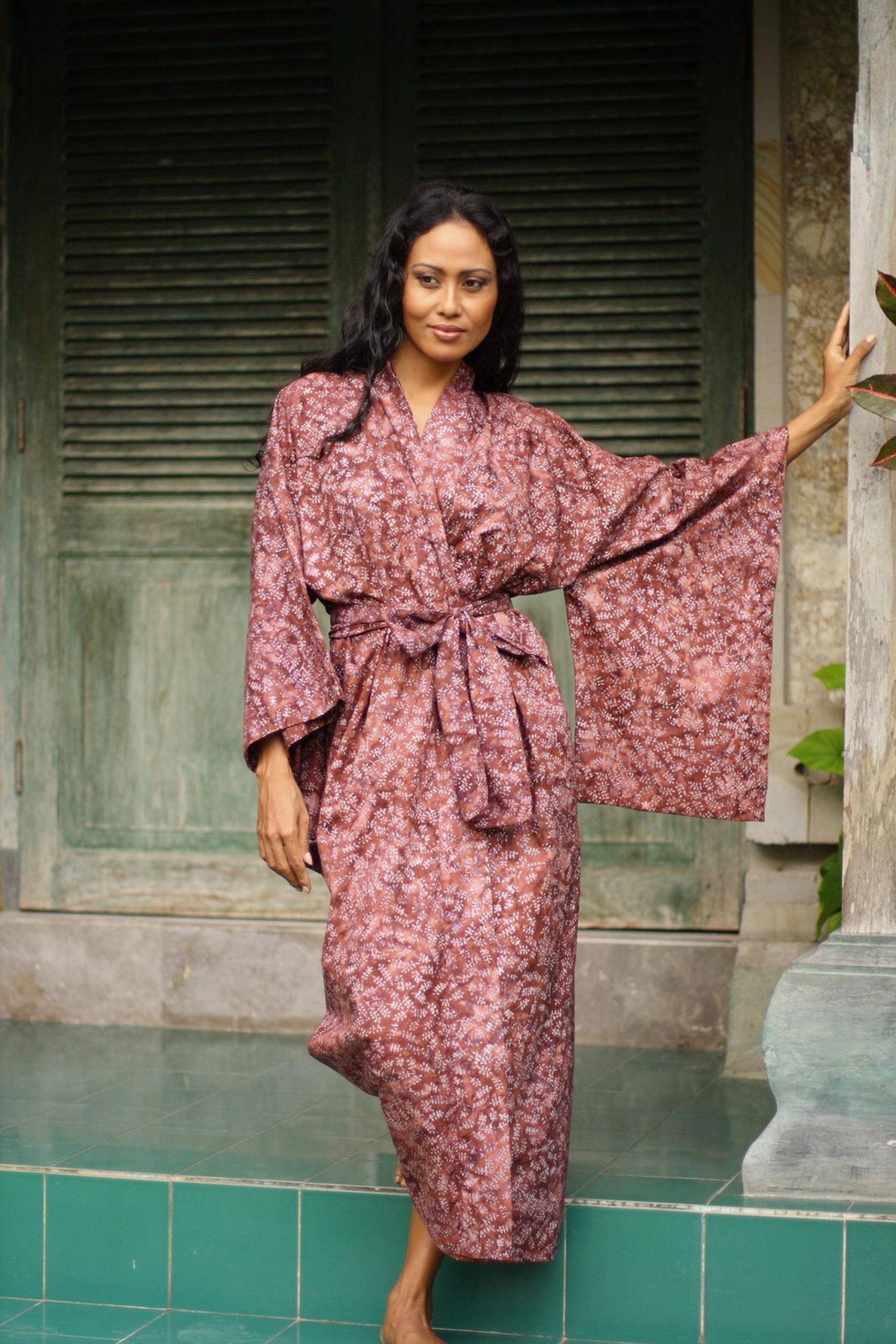 """Handmade 100% Cotton Robe in Red Pink Tones from Indonesia, """"Earth Dancer"""" Handmade robes"""
