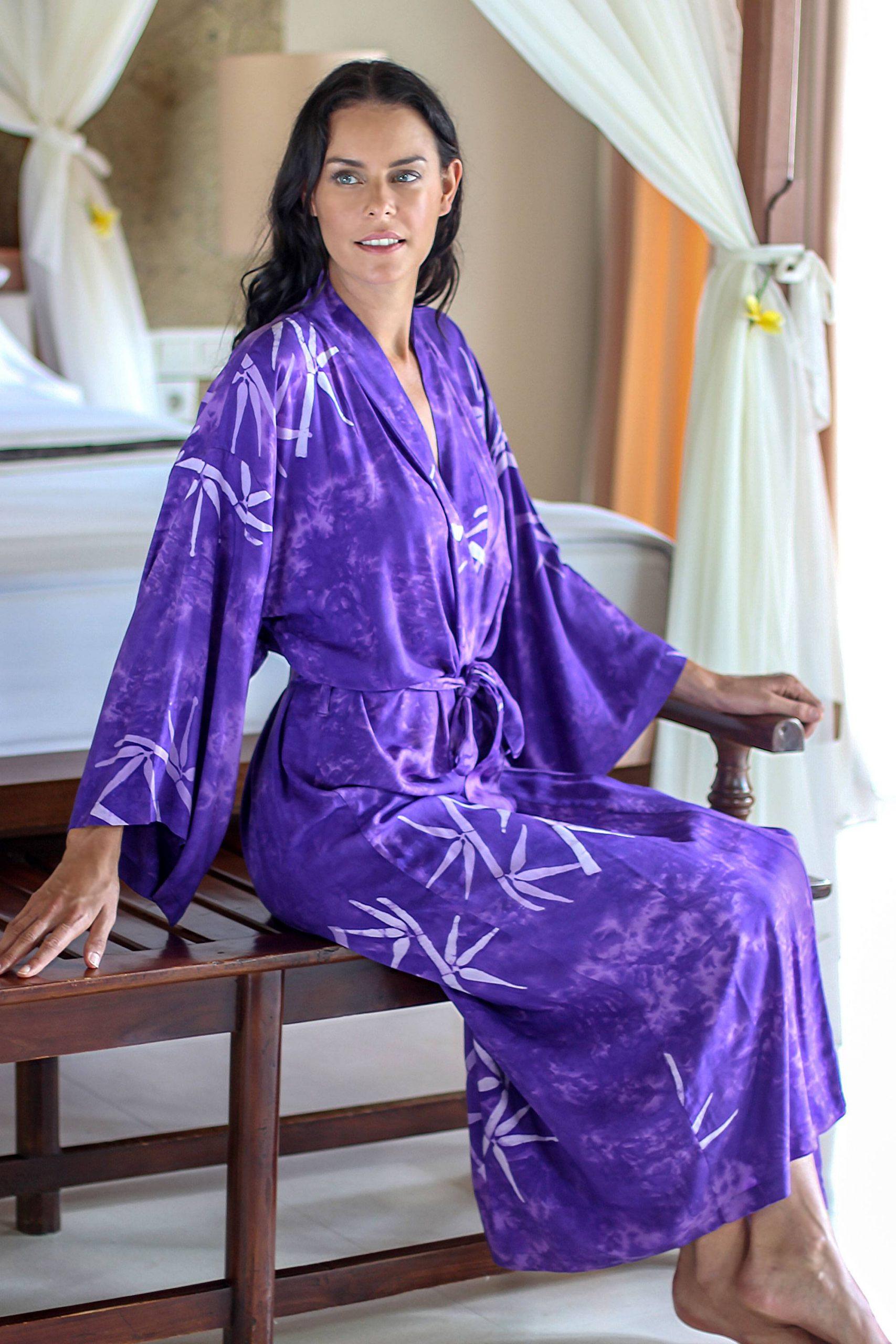 """Handmade Purple Batik Robe, """"Breezy Bamboo"""" Handmade Robes"""