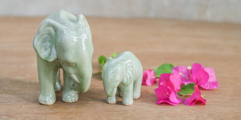 "Celadon Ceramic Elephant Sculptures, ""Natural Nurture"""