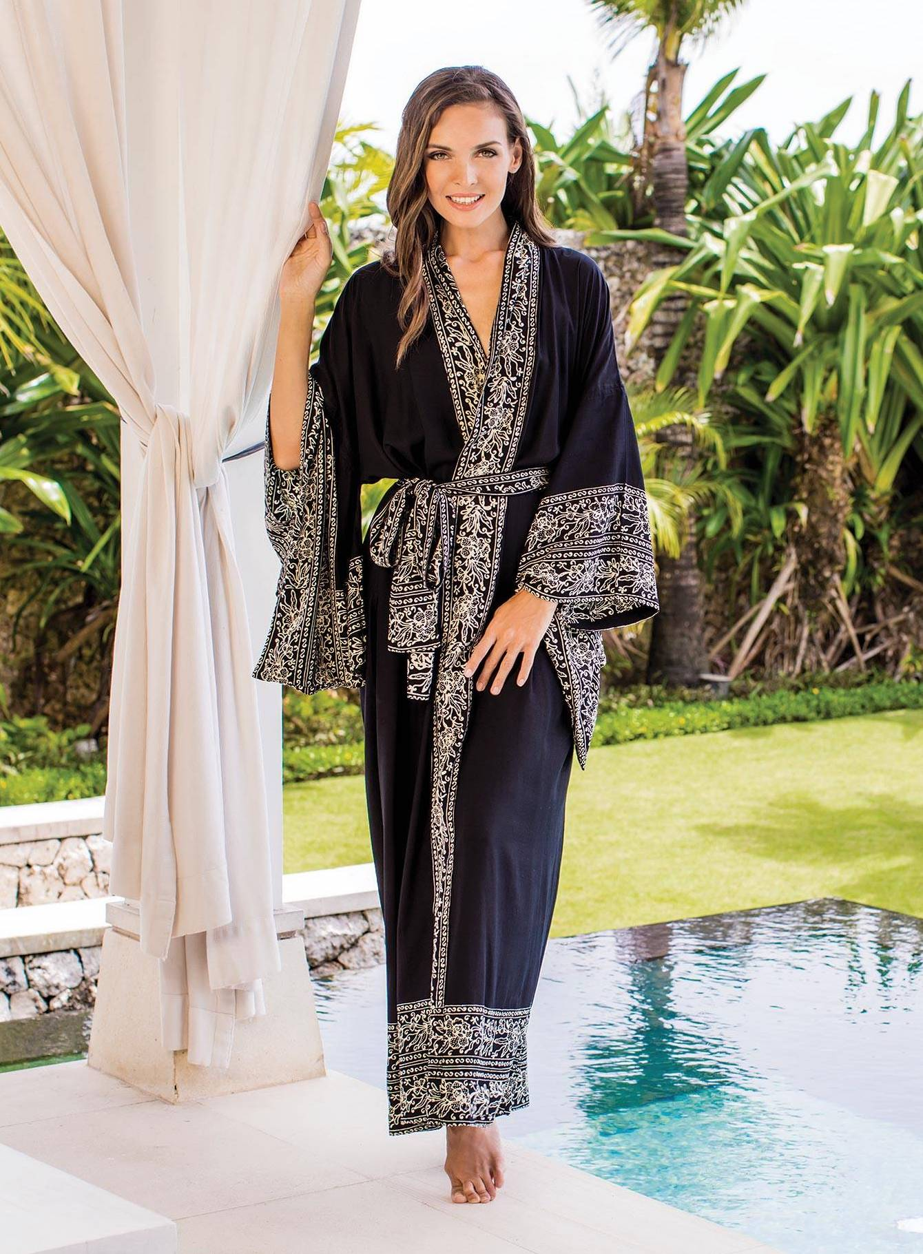 """Indonesian Floral Patterned Black and Ivory Robe, """"Batik Midnight"""" Handmade robes"""
