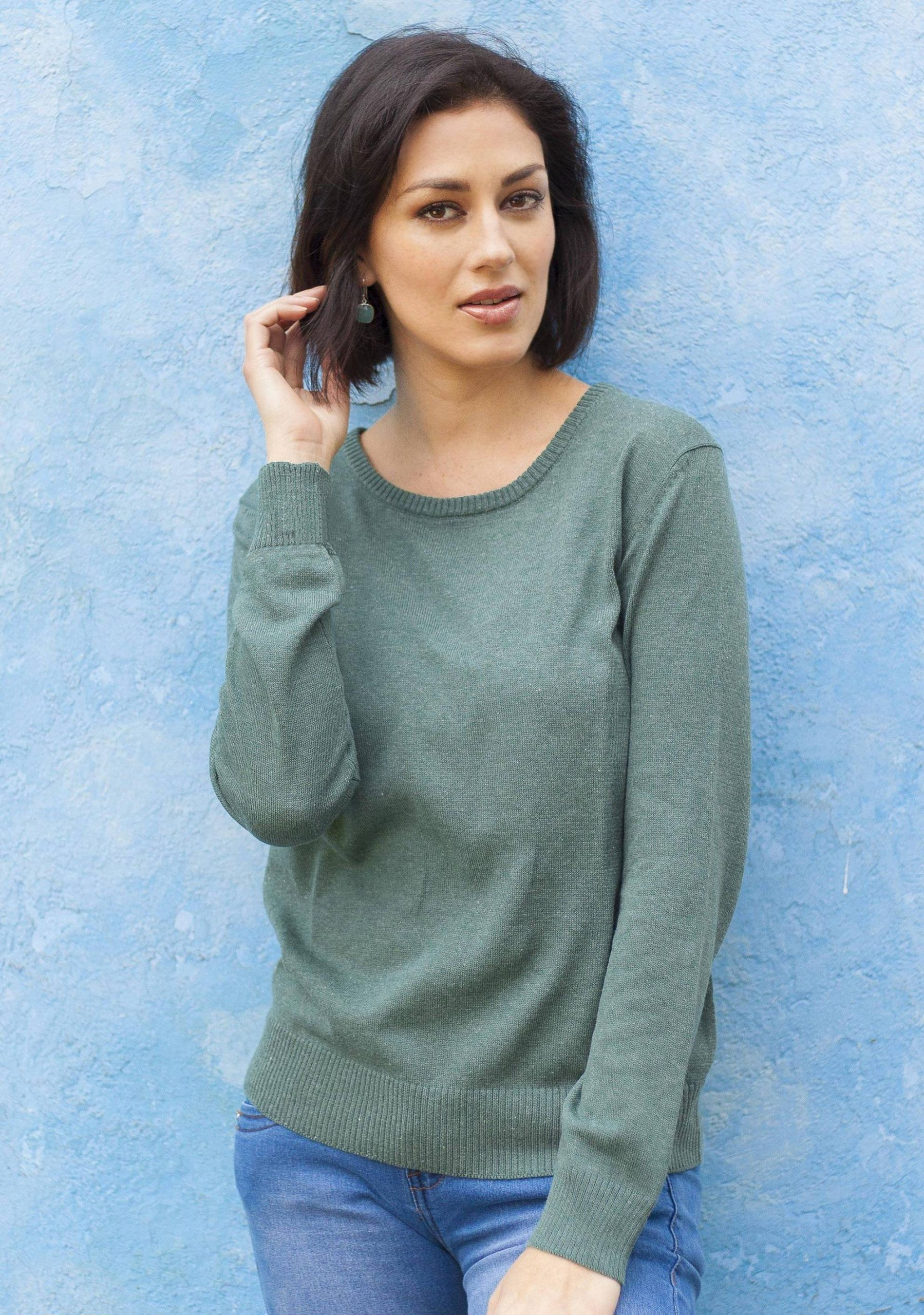 """Knit Cotton Blend Pullover in Viridian from Peru, """"Warm Valley in Viridian"""" Fall Fashion"""