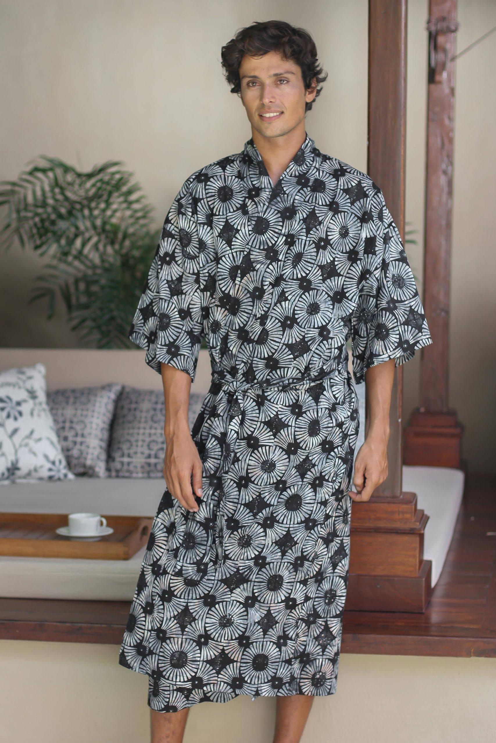 "Men's Batik Cotton Robe, ""Midnight Fireworks"" Handmade Robes"