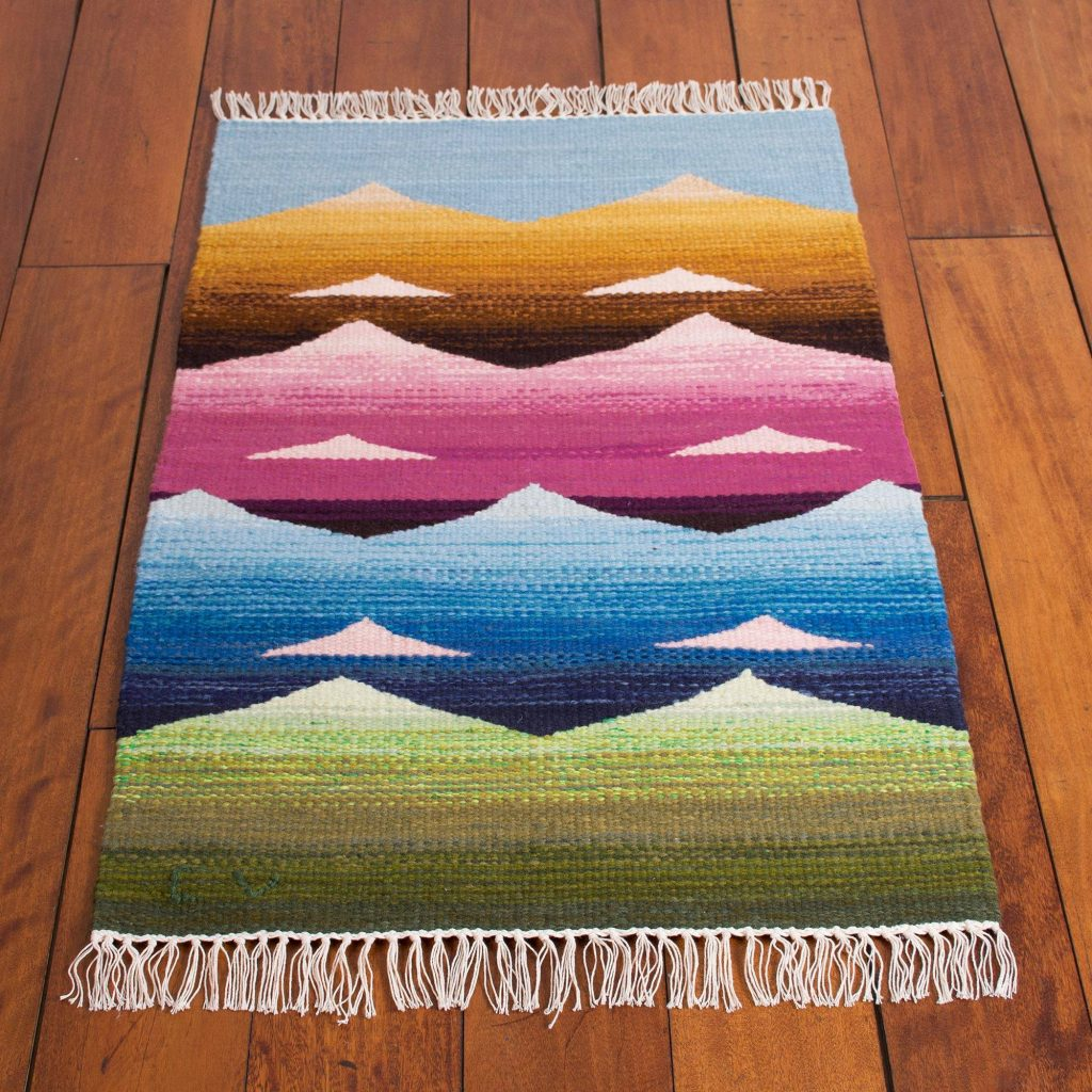 """Mountain Motif Wool Area Rug from Peru (2x3), """"Andean Colors"""" Handmade Area Rugs"""