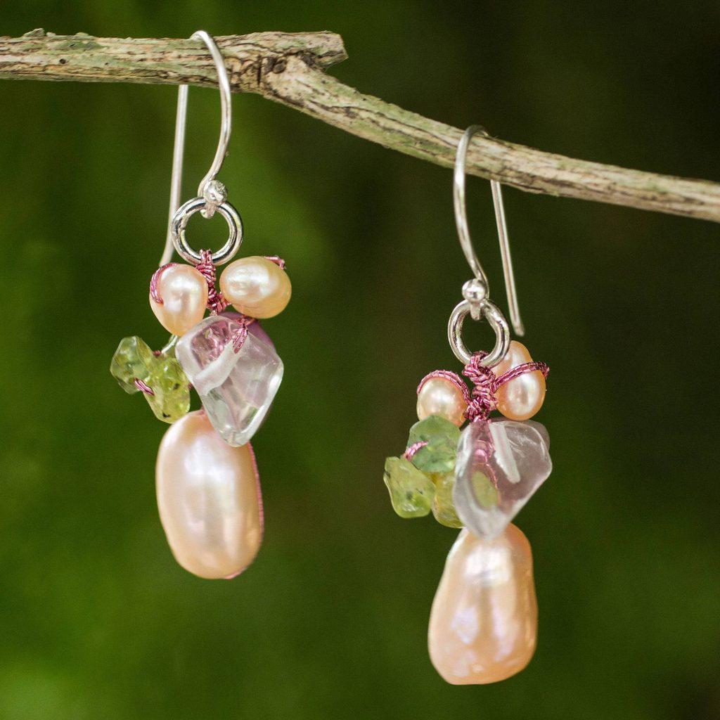 "Pearl and peridot cluster earrings, ""Rosy Dawn"" Artistic Earrings"