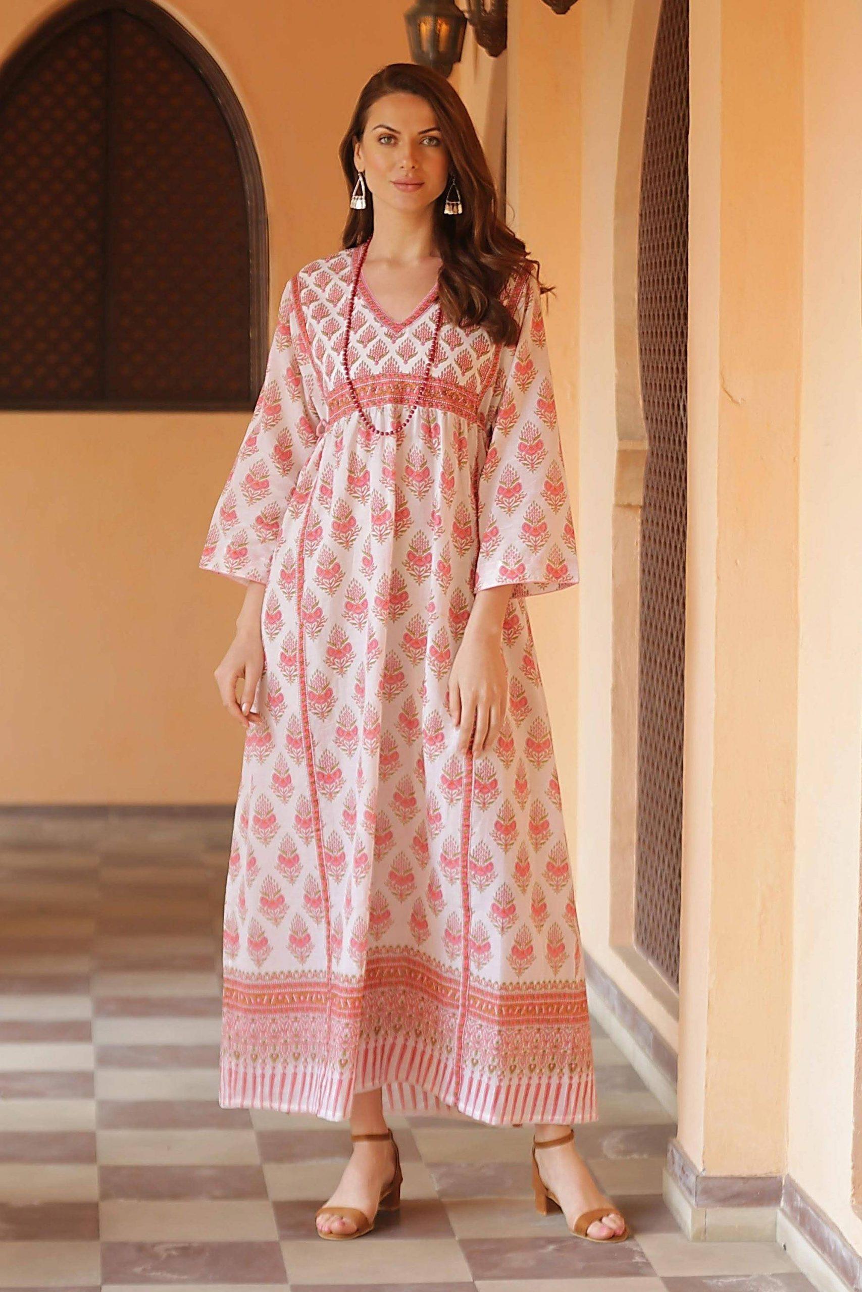 "Pink Floral Print Cotton Maxi Dress, ""Floral Fantasy"" Fall Fashion"
