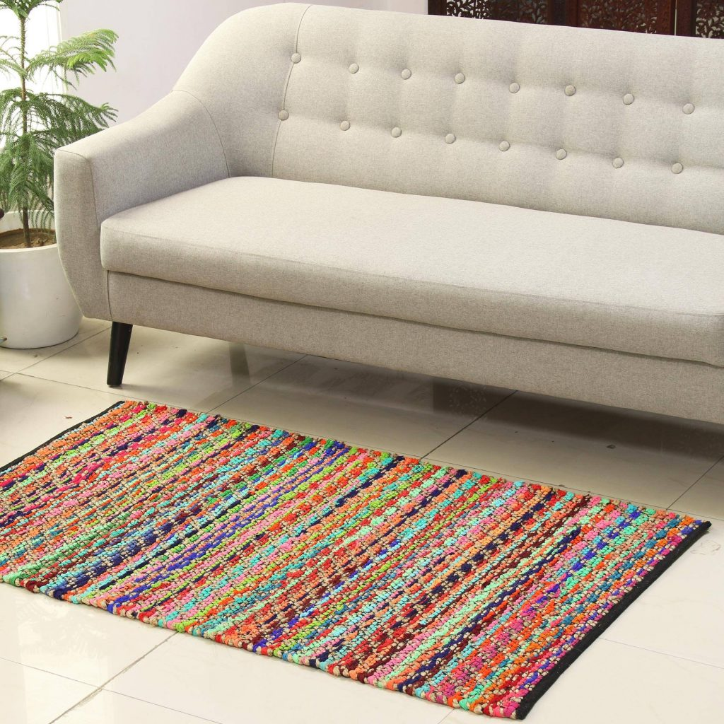 """Recycled Polyester and Jute Blend Area Rug from India (3x5), """"Eco Rainbow"""" Handmade Area rugs"""