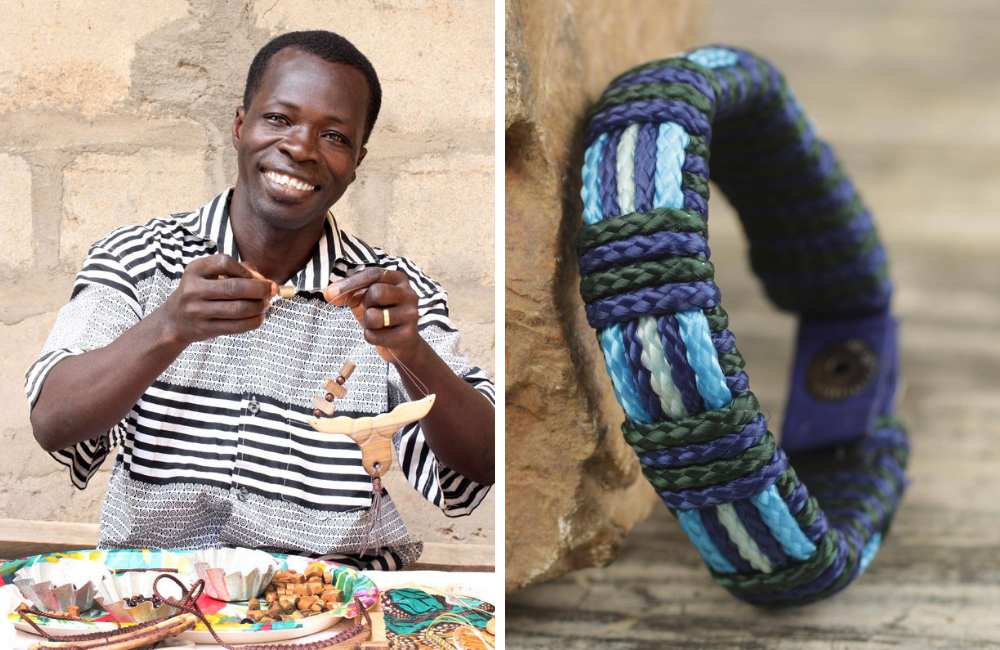 "Robert Aidoo-Taylor and Men's Hand Crafted Blue Cord Wristband Bracelet, ""Kente Ocean"""