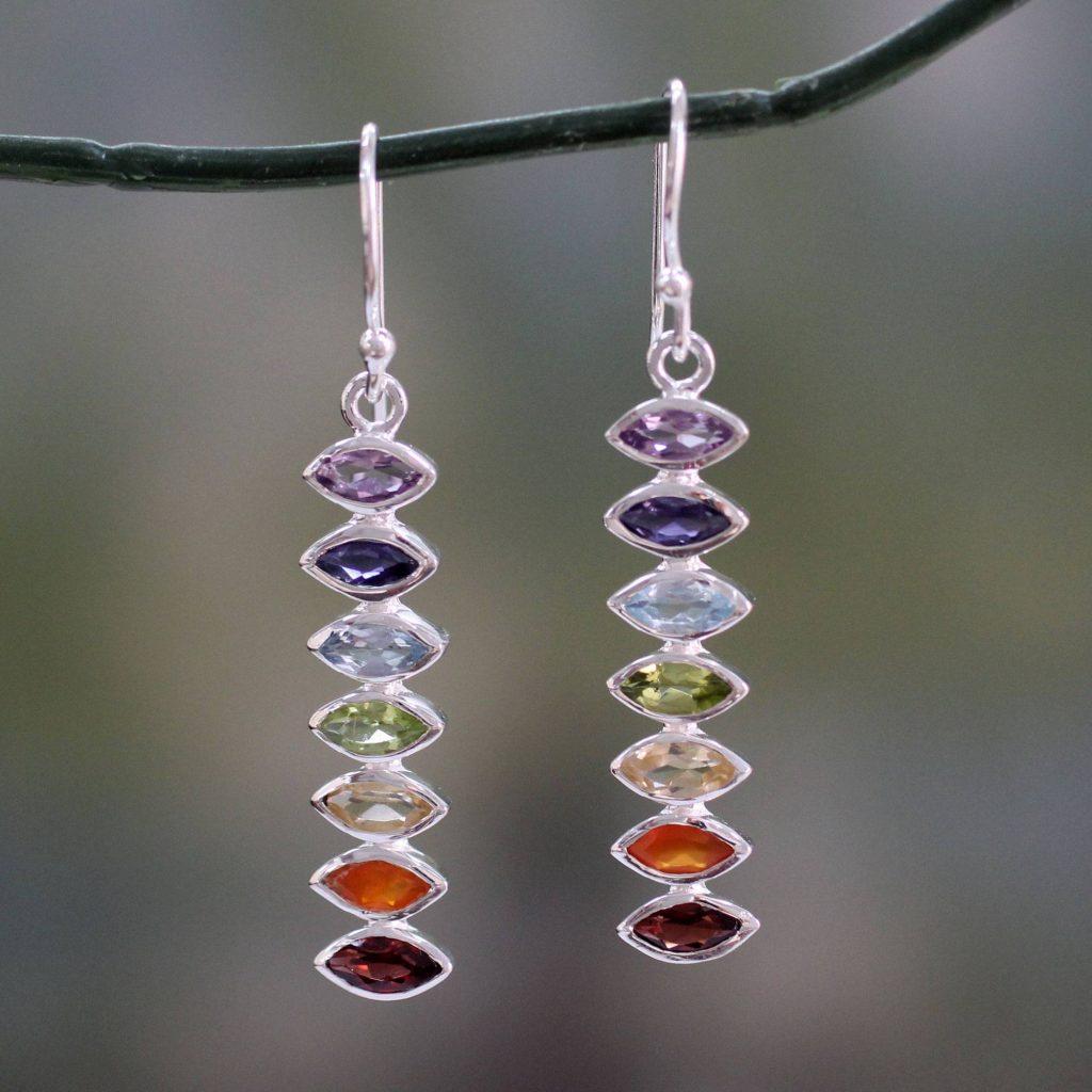 """Artistic Earrings Seven-Gemstone Dangle Earrings in 925 Sterling Silver, """"Chakra Balance"""""""
