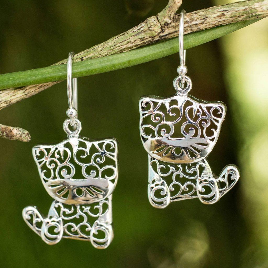 """Sterling Silver Cat Earrings, """"Filigree Kitten"""" Artistic Earrings"""
