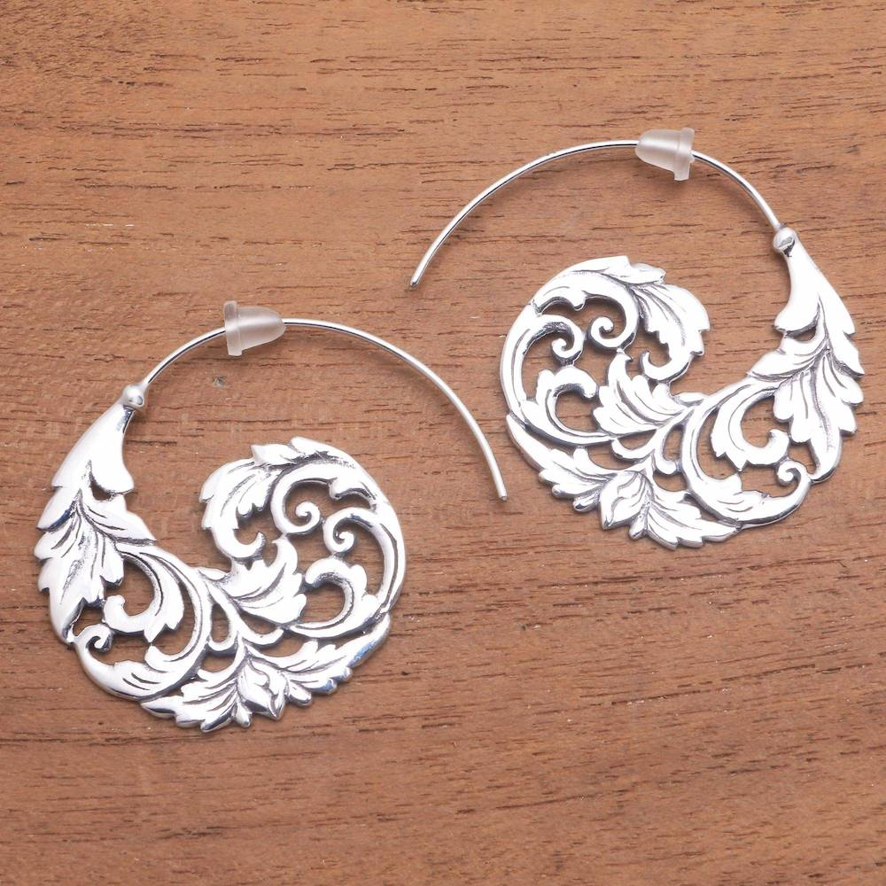 "Sterling Silver Vine Half-Hoop Earrings from Bali, ""Garden Waves"" Artistic Earrings"