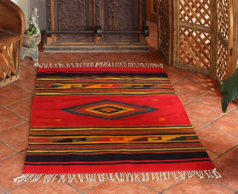 """Zapotec Wool Rug 4 X 6 Woven by Hand in Mexico, """"Red Maguey Handmade Area Rugs"""