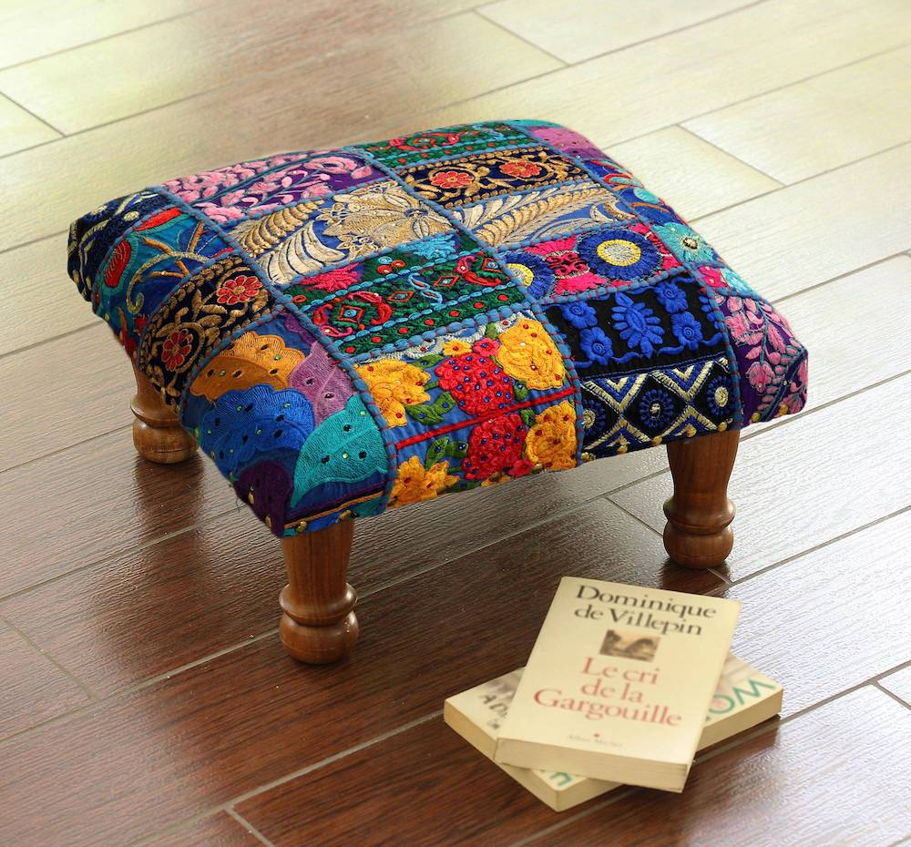 """Fair Trade Embellished Ottoman Foot Stool from India, """"Lapis Patchwork"""""""