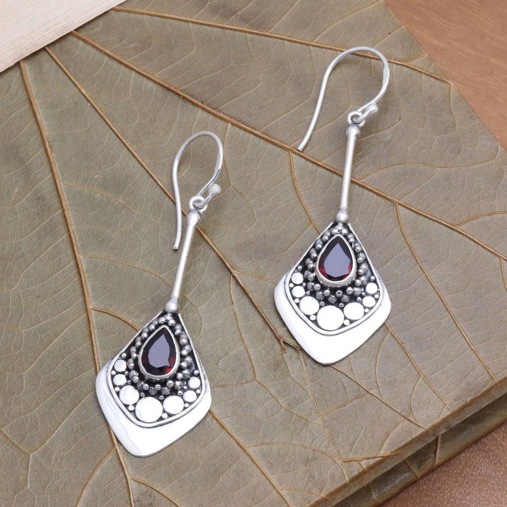 "Garnet and Sterling Silver Dangle Earrings, ""Elegant Arrangement"" Jewelry Gift Guide"