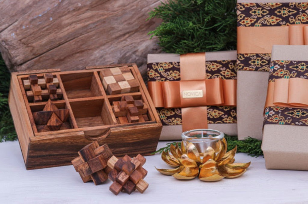 Gift Wrapped Boxes with our Wooden 'Puzzle Set' and 'Gleaming Lotus' Tealight Holder, both from Thailand Unique Gifts