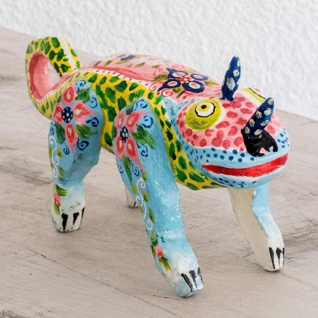 """Hand-Painted Pinewood Chameleon Figurine from Guatemala, """"Colorful Chameleon"""" Unique Gifts"""