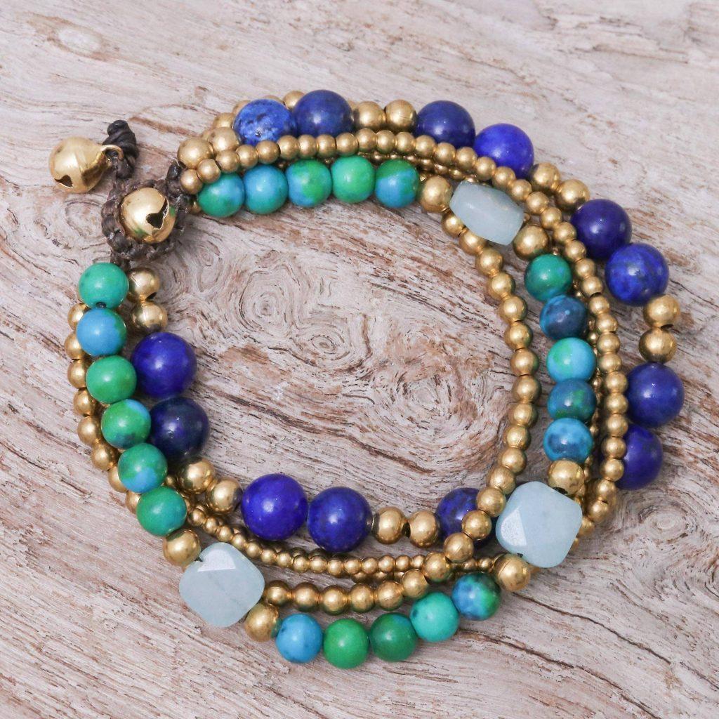 "Handmade Beaded Bracelet with Lapis Lazuli and Serpentine, ""Bohemian Melange"" Jewelry Gift Guide"