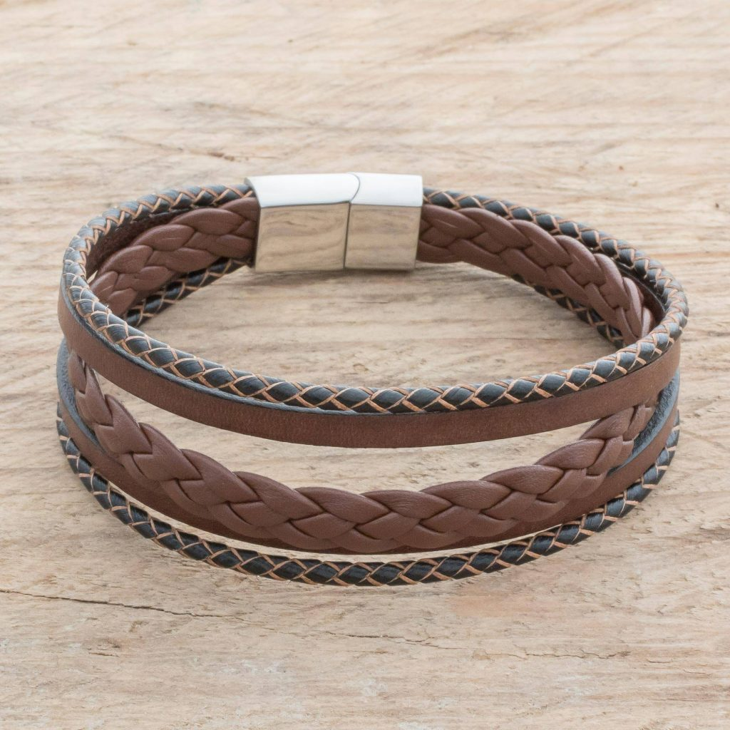 """Men's Espresso Leather Strand Bracelet from Costa Rica, """"Bold Variety in Espresso"""" Jewelry Gift Guide"""