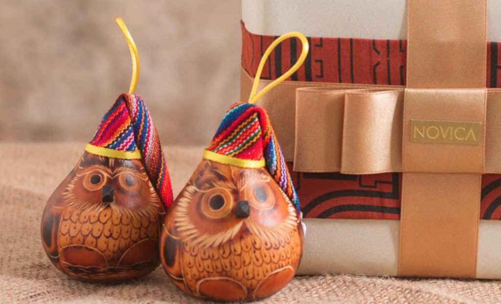 """Mate Gourd Bird Ornament (Set of 6), """"Christmas Owls"""" Unique Gifts"""