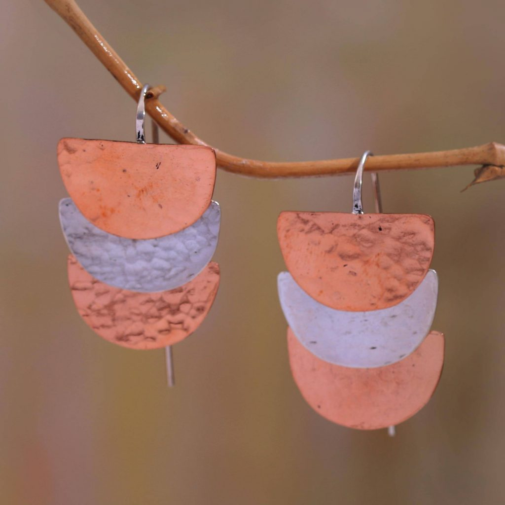 """Semicircle Sterling Silver and Copper Dangle Earrings, """"Modern Sunset"""" Jewelry Gift Guide"""