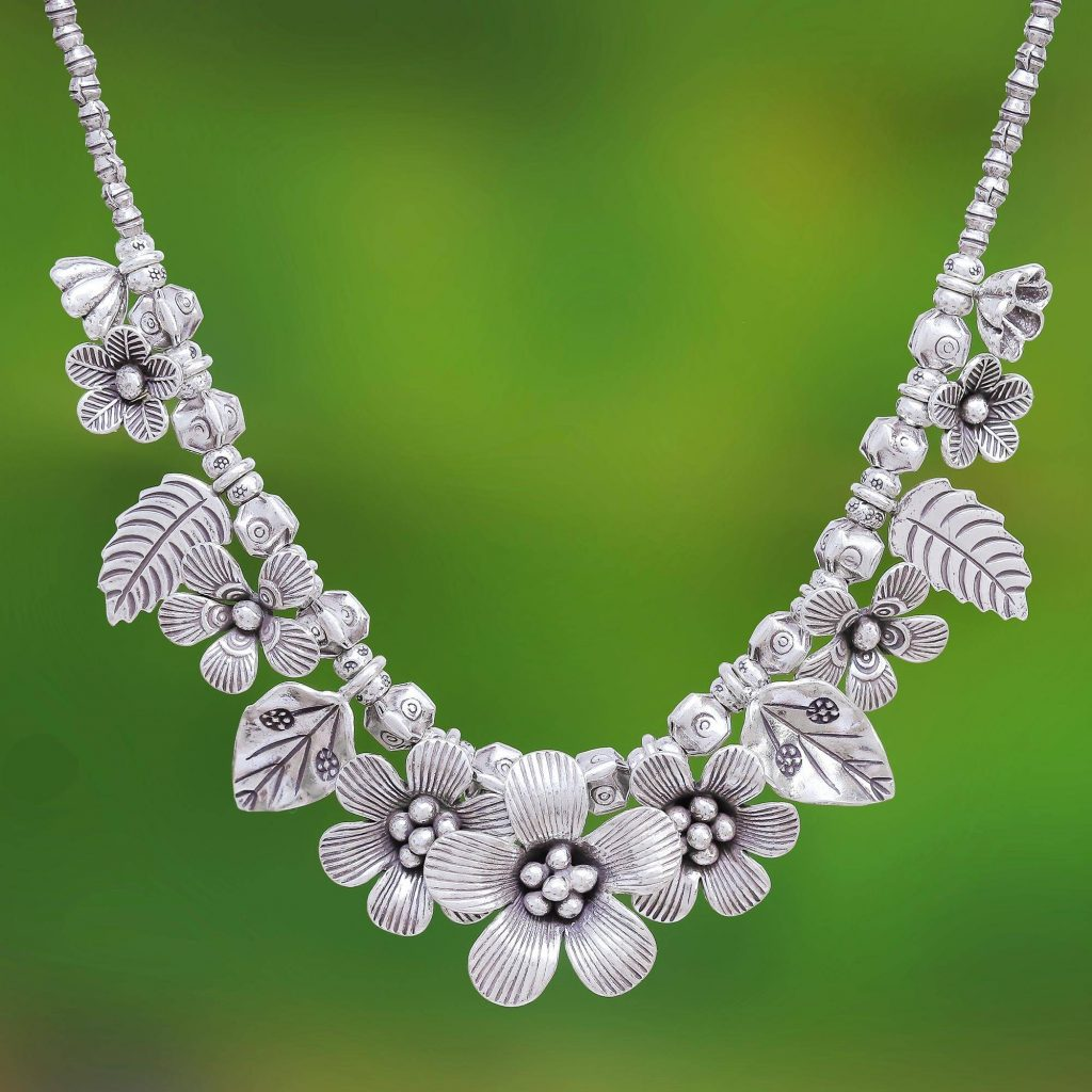 """Sterling Silver Flower Motif Pendant Necklace from Thailand, """"Nature's Miracle"""" Jewelry Gift Guide"""