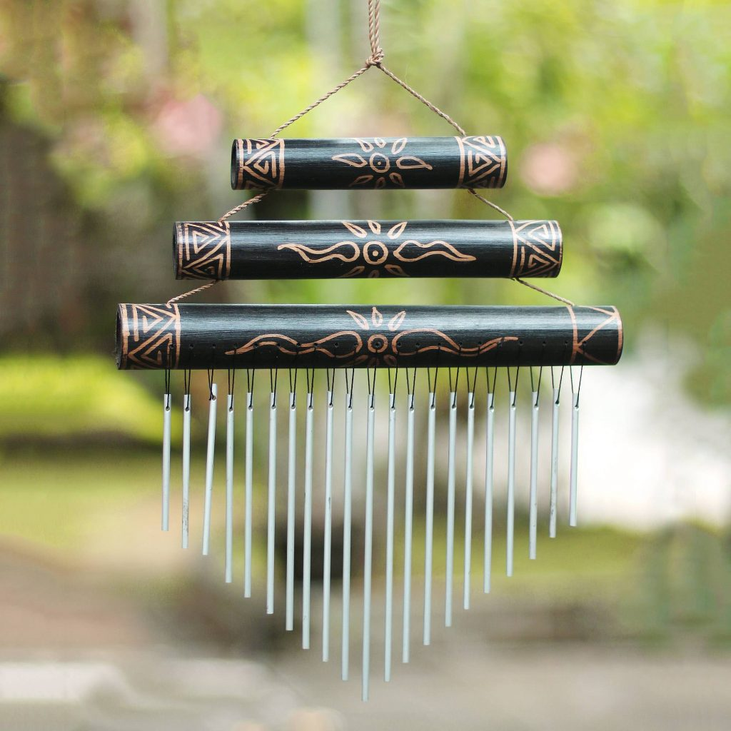 """Sun Motif Bamboo Wind Chimes in Black from Bali, """"Breezy Sound"""" Unique Gifts"""
