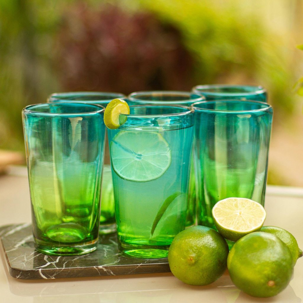 """6 Artisan Crafted Blue Green Blown Glass Highball Glasses, """"Aurora Tapatia"""" New Year's Resolutions"""