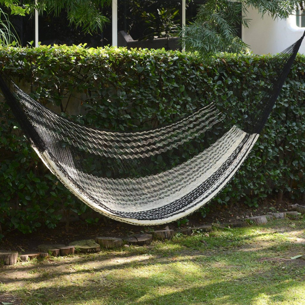 """Black & Ivory Hand Woven Hammock from Mexico, """"Night Stripes"""" Hammock Questions"""
