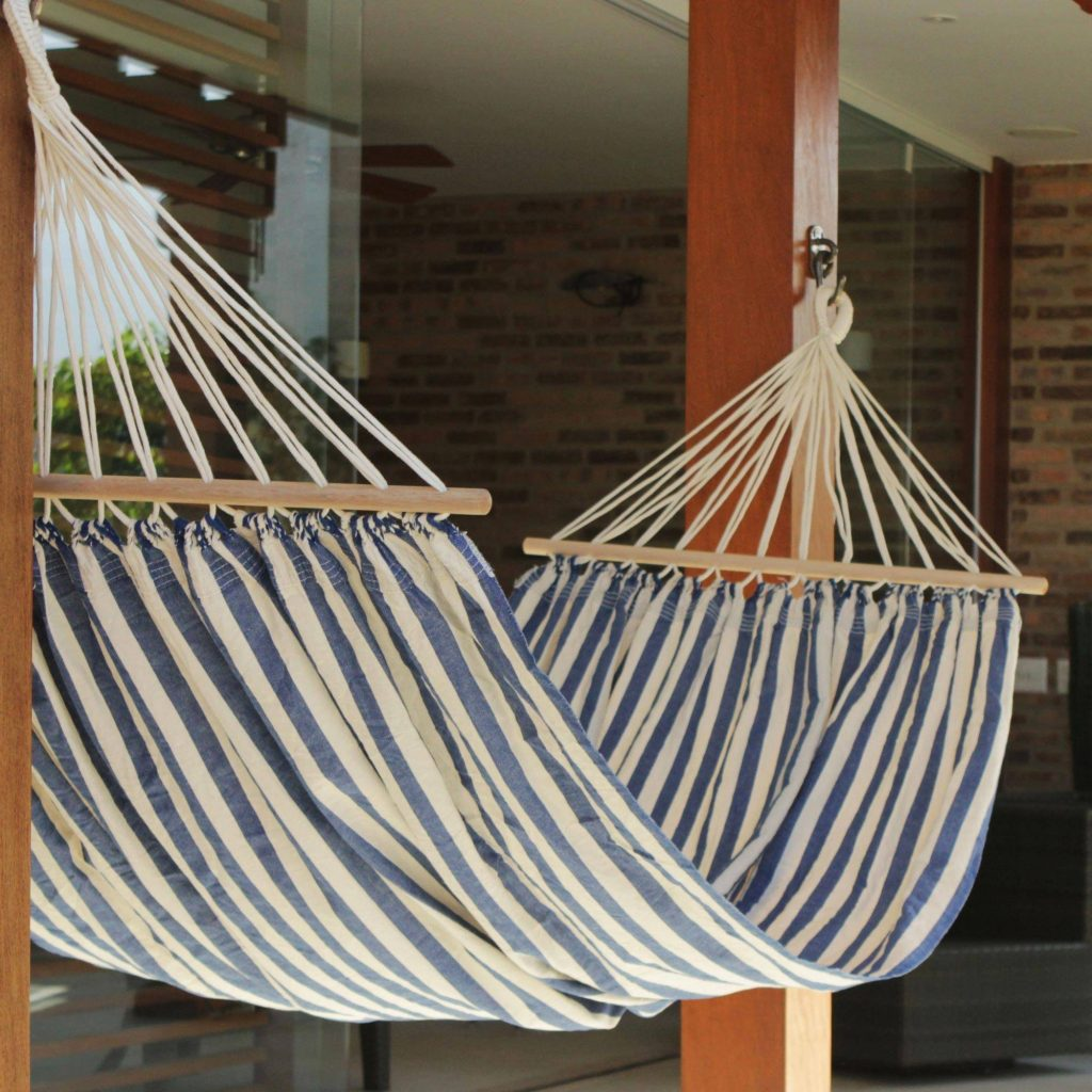 """Blue White Cotton Hammock with Spreader Bars (Single), """"Ceara Parallels"""" Hammoch Questions"""