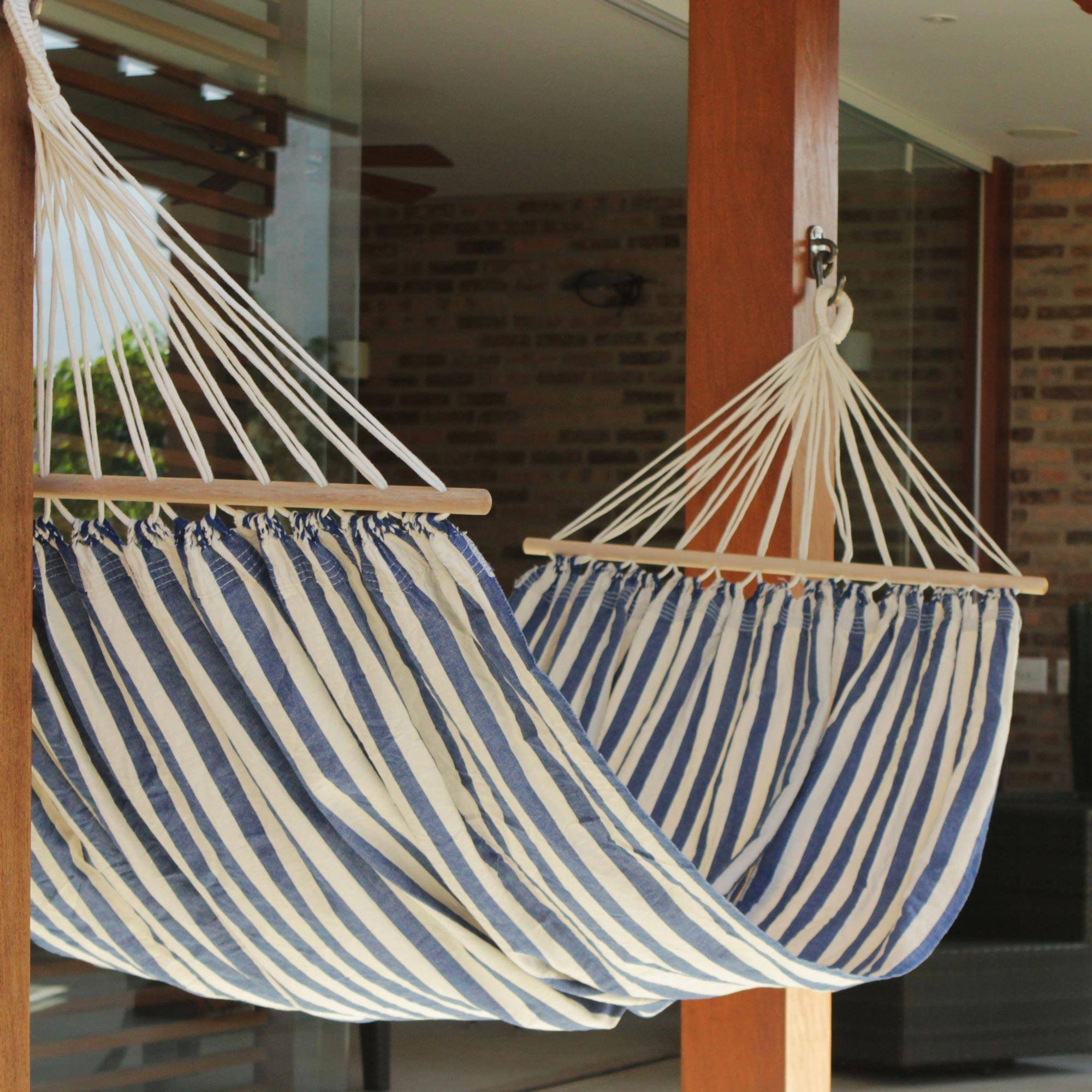 """Blue White Cotton Hammock with Spreader Bars, """"Ceara Parallels"""""""