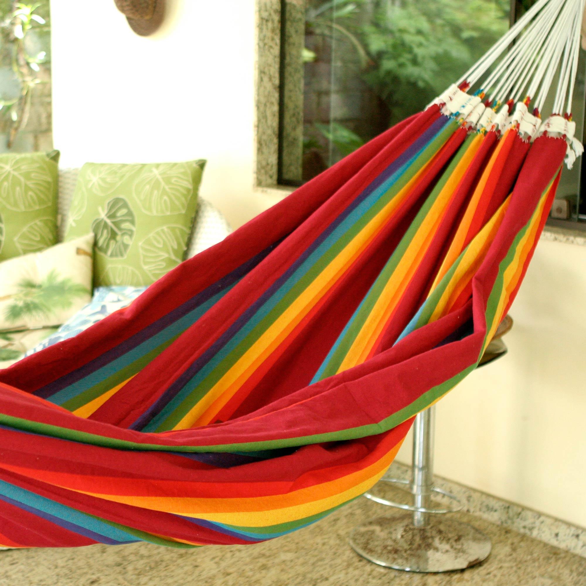 "Handmade Striped Cotton Hammock (Double), ""Iracema Rainbow"""