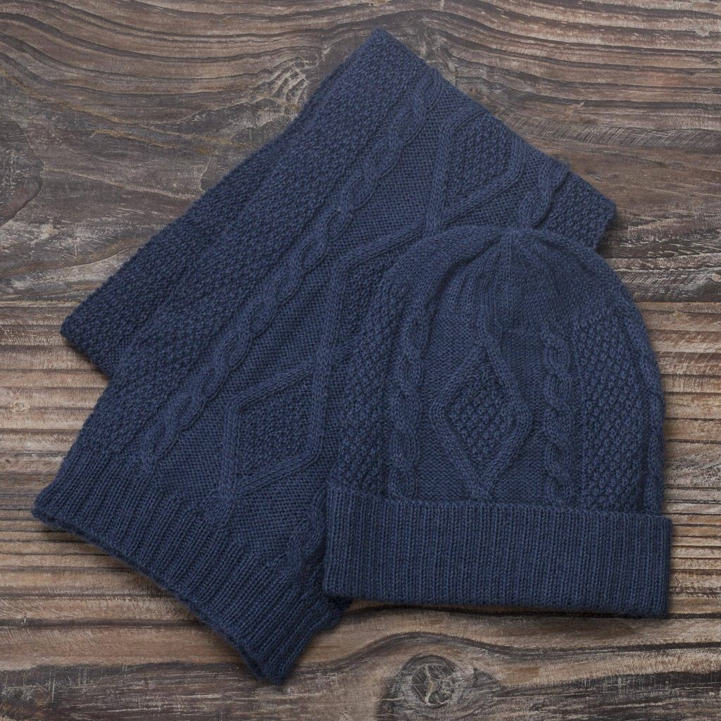"""Knitted Unisex Watch Cap in Azure 100% Alpaca from Peru, """"Antique Blue Allure"""" New Year's Resolutions"""